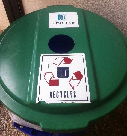 A MET recycle bin on the TU Campus.