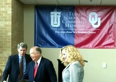 OU President David Boren, center, welcomes people to the grant announcement
