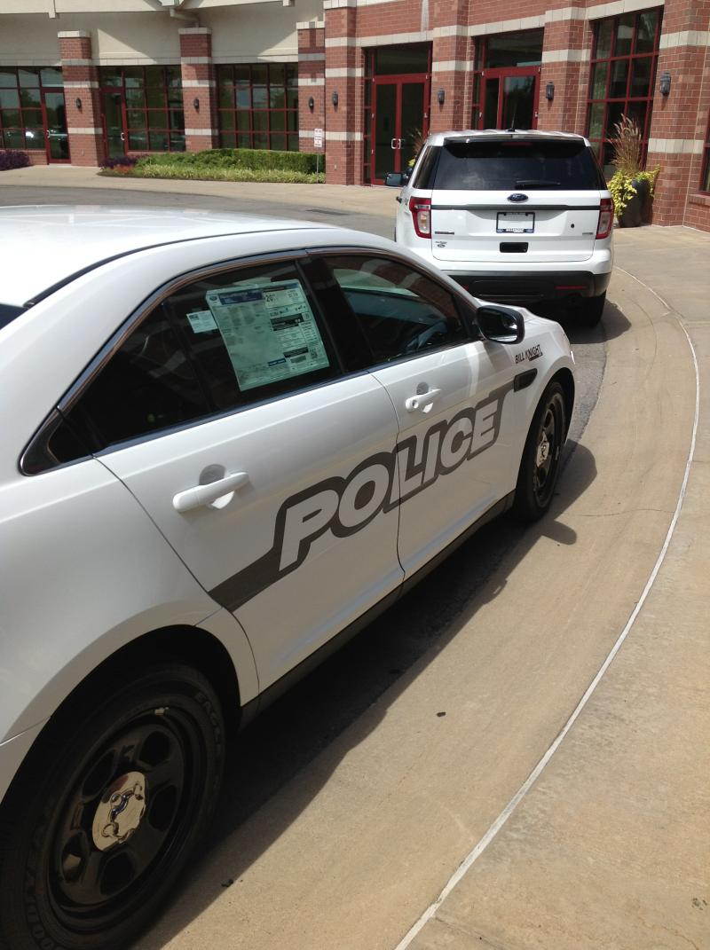 This police car is on display outside the Renaissance Tulsa Hotel, where the Annual Training Conference and Exhibit will hold tomorrow's technology expo.