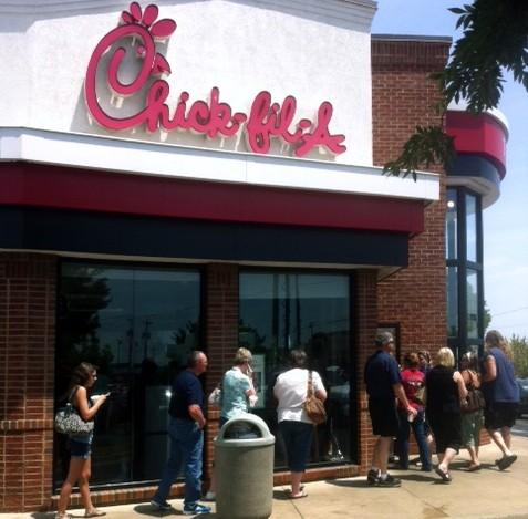 The order line stretched outside at the 71st and Garnett Chick-Fil-A.