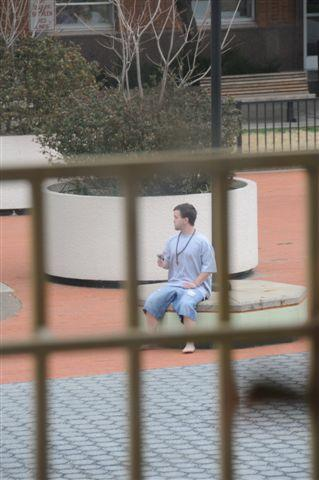 Suspect Andrew Dennehy on the courthouse plaza.