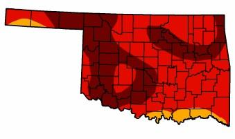 The darker the color, the worse the drought. Southern Tulsa County is in the worst condition.