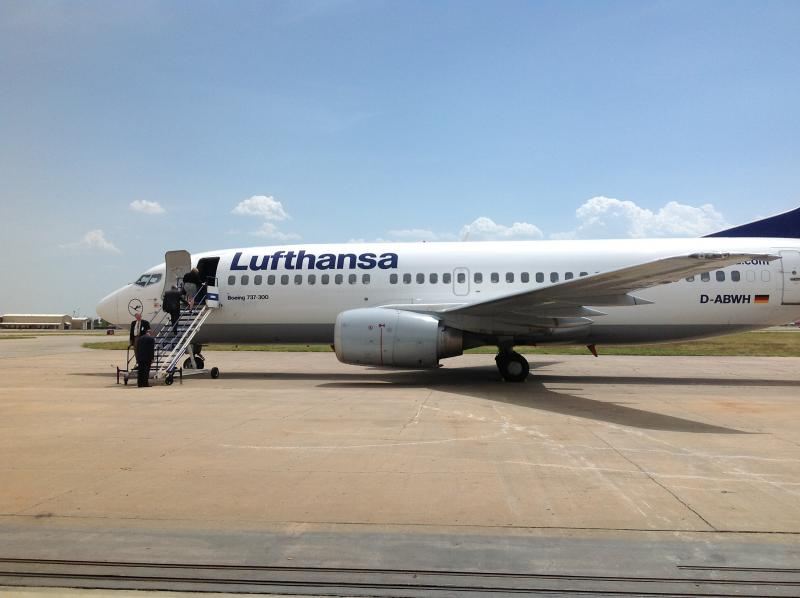 Lufthansa displays one of its Boeing 737 jets at the Tulsa Technik Component Services headquarters.