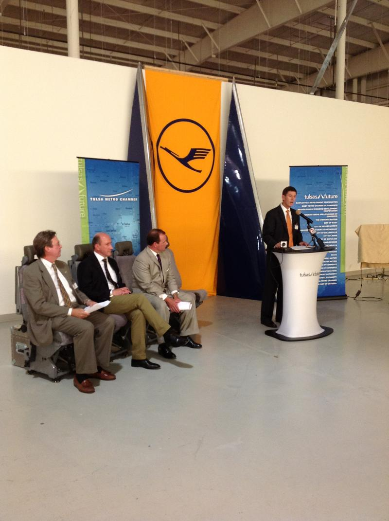 From left: Mayor Dewey Bartlett, Lufthansa Technik Chief Executive Product and Services Dr. Thomas Steuger, Lt. Governor Todd Lamb, and Stuart Solomon, chair of the Metro Chamber's Tulsa's Future initiative.
