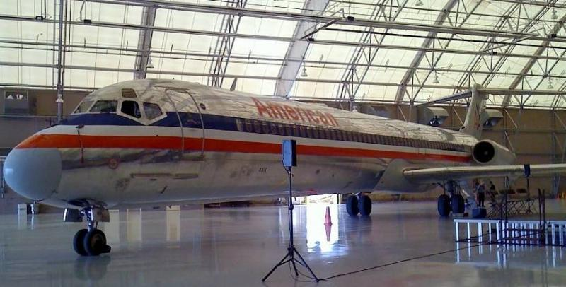 A jet inside an American Airlines hangar at Tulsa International