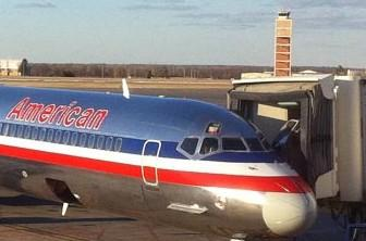 An American Airlines jet at the Tulsa International terminal.