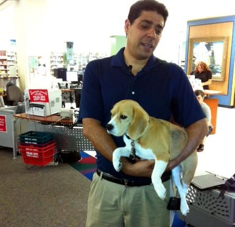 Miss Liberty Bell and her handler visited Central Library in July.