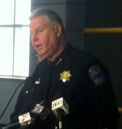 Chief Chuck Jordan announces the arrest one week ago, today.