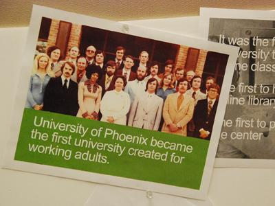 A Photograph of University of Phoenix students in 1979 posted on a San Francisco business bulletin board.