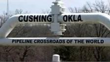 "The ""Welcome to Cushing"" sign is made out of pipeline."