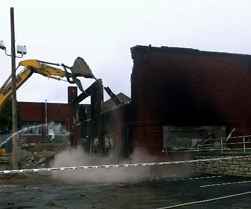Demolition underway at Barnard Elementary at 17th and Lewis