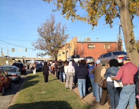 The line snakes from the Election Board, South Denver and then East on West Edison