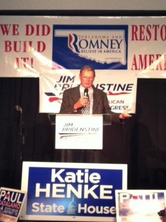 U-S Senator Jim Inhofe speaking at Jim Bridenstine's watch party