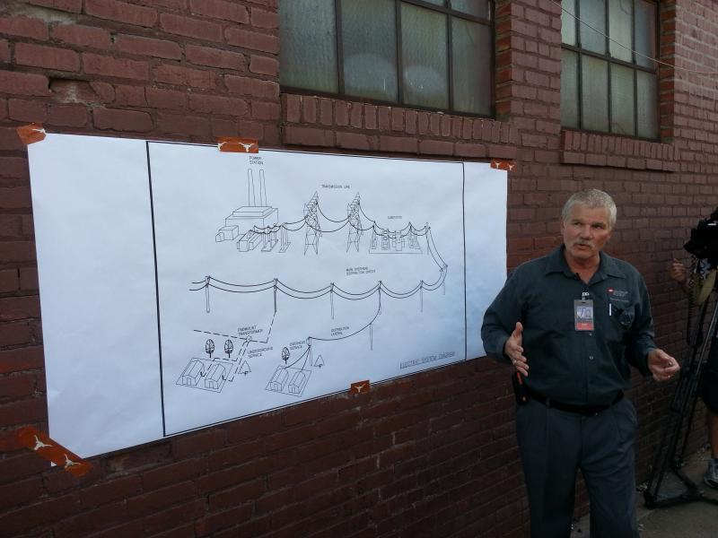 PSO engineer George Heady addresses the crowd Thursday. The diagram shows a typical setup for underground power lines. Even if the lines are underground, there are still portions of the electrical grid that are above ground.