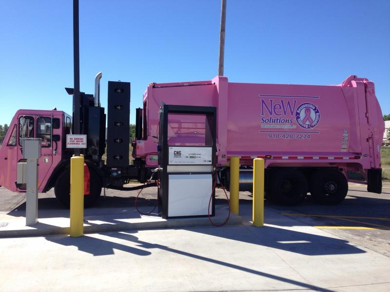 The station has 64 fueling slots for fleet vehicles. NeWSolutions has 41 trucks in its fleet for collecting trash and recyclables in Tulsa.