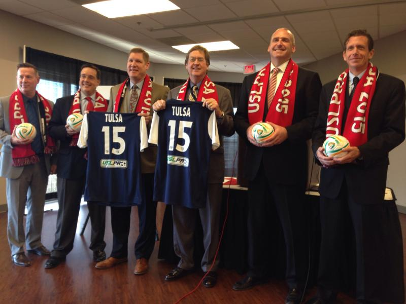(From left) Visit Tulsa Senior Vice President Ray Hoyt, Tulsa Drillers General Manager Mike Melega, Tulsa Stadium Trust Vice-Chairman Stacy Kymes, Mayor Dewey Bartlett, Prodigal LLC CEO Bob Funk and United Soccer Leagues President Tim Holt