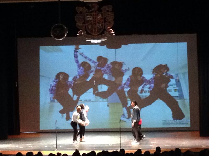 Students at Booker T. Washington High School perform a dance during their Black History Month assembly Friday. They followed a group that performed a more traditional-looking African dance.