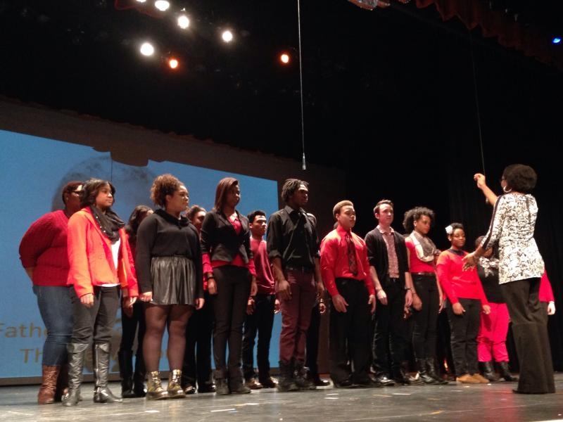 Booker T. Washington High School students sing selected gospel songs during the school's Black History Month assembly Friday.
