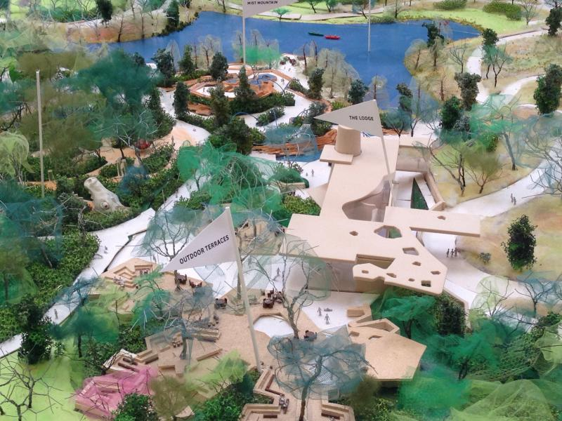 The lodge feature as represented in the scale model of the park.