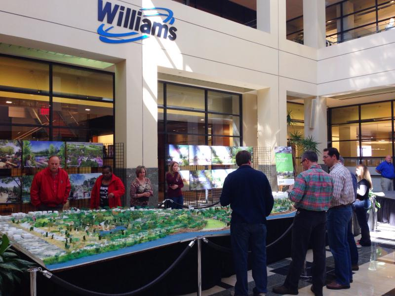 The scale model of A Gathering Place for Tulsa is now on display at One Williams Center in downtown Tulsa.