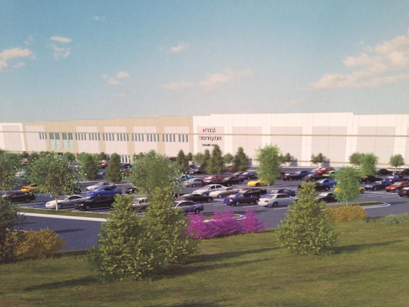 An artist's renderings of the completed fulfillment center were on display at Thursday's groundbreaking ceremony.