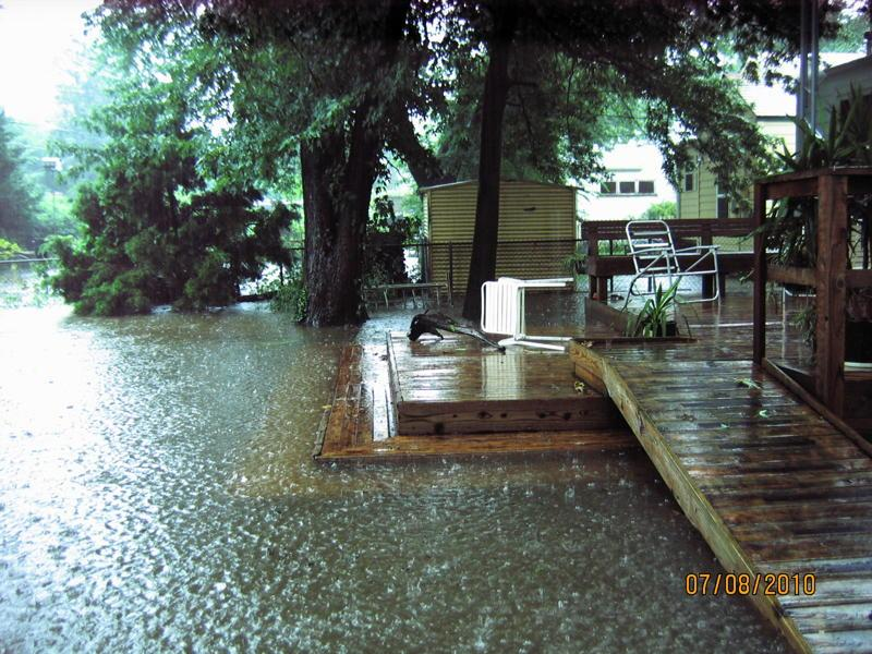 A July 2010 flood brought several inches of water into Patricia Seibert's backyard.