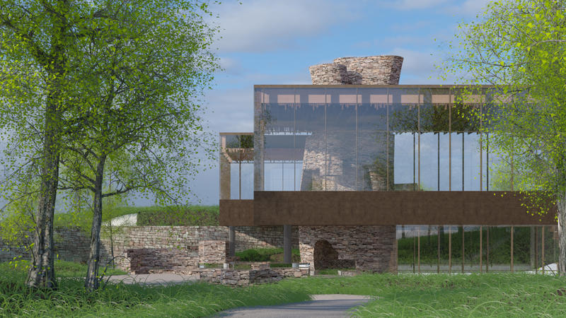 A rendering shows how the lodge should look when completed.