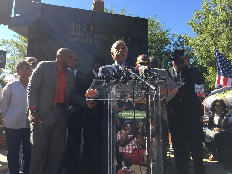 Rev. Al Sharpton announced the march and subsequent rallies last week after meeting with the Crutcher family and their attorneys. He arrived around 3:20 p.m. to lead the march.