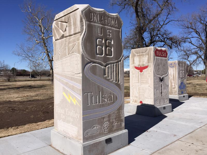 Route 66 #1, #2 and #3 are Indiana limestone monoliths carved by Patrick Sullivan. The Vision-funded sculptures are in Howard Park.