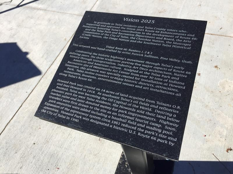 A plaque describes Route 66 #1, #2 and #3, and Howard Park's history.