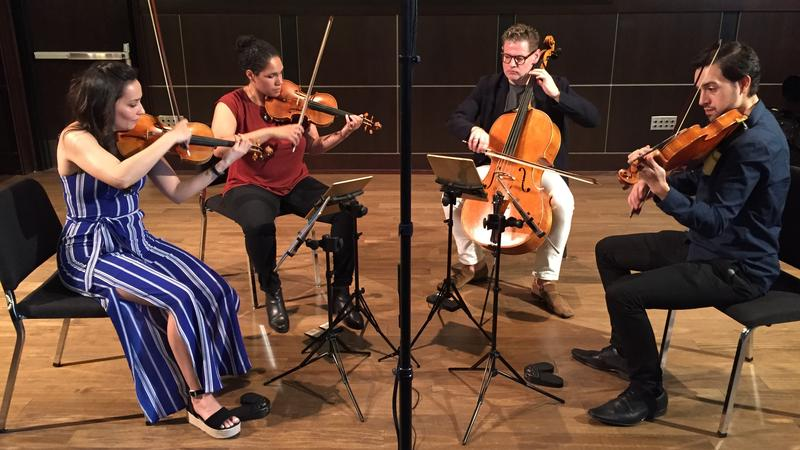 The Catalyst Quartet: violinists Karla Donehew Perez and Jessie Montgomery, cellist Karlos Rodriguez and violist Paul Laraia