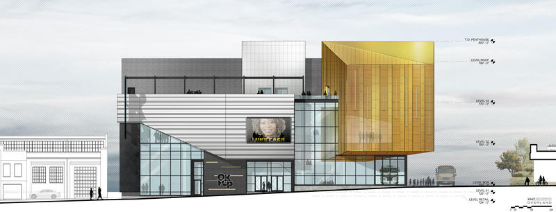 The three-story building will include a terrace and exterior video boards.