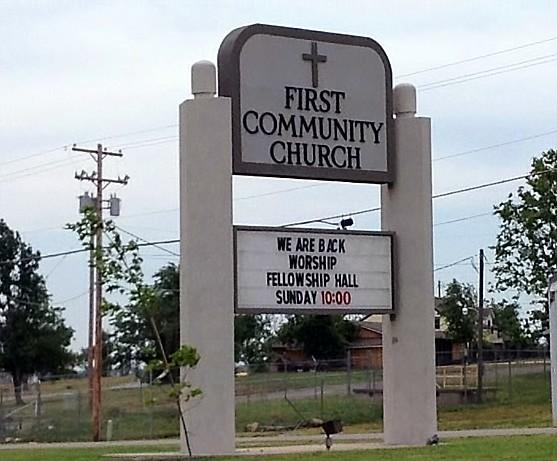 Services are being held again at the First Community Church