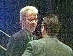 Senator Coburn works the prior to his address in Tulsa