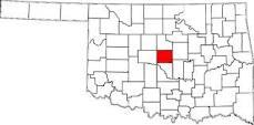 Oklahoma County Colored Red