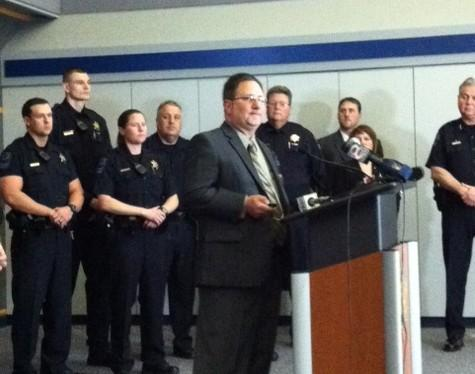 Arrests are announced by Sex Crimes Unit Sargeant Mark Mears as Chief Chuck Jordan and others watch.
