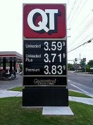 The gasoline price sign outside of a south Tulsa Quik Trip