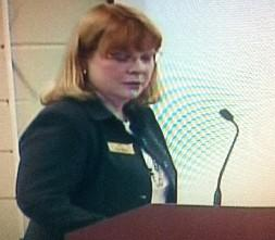 District CFO Trish Williams presents the staffing plan at last night's meeting