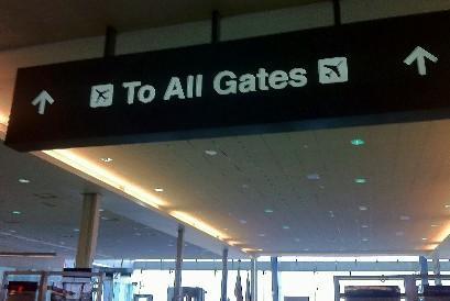 Gate marker at Tulsa International Airport