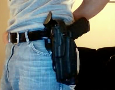 A gun in a holster example of open-carry