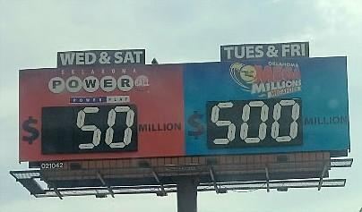 Lottery billboard along I-244 near Memorial