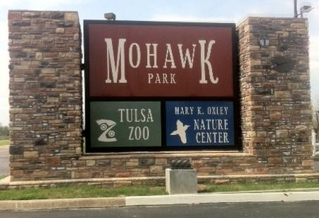 The entrace to Tulsa's Mohawk Park and Zoo