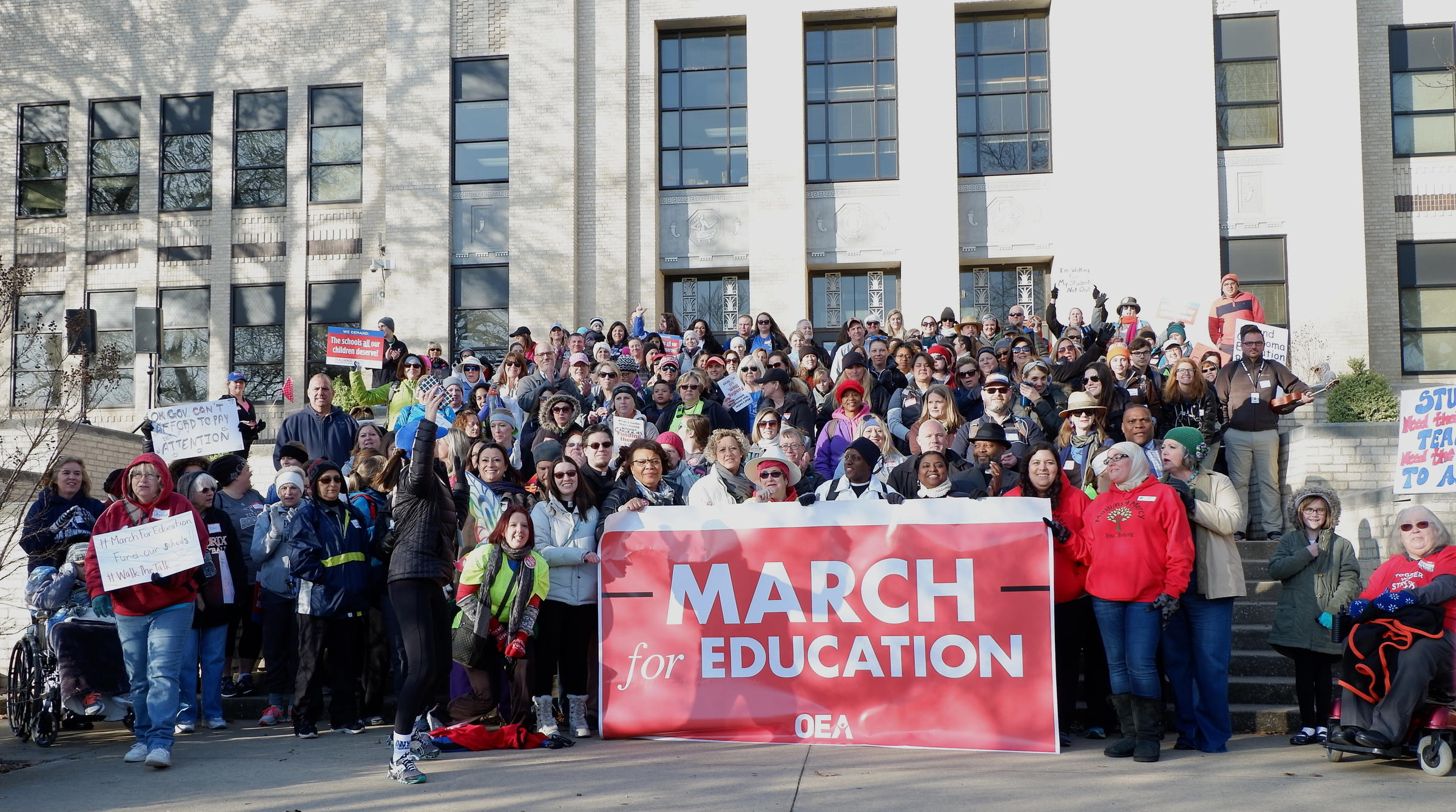 'They're depriving their students of education,' retired teacher on Okla. protests