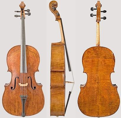 "The 1730 ""Fruh"" cello. Front, side, and back."