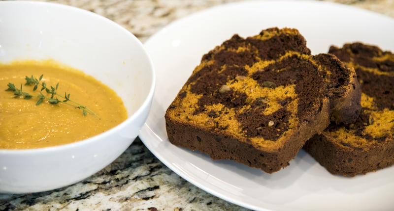 Butternut Squash Soup and Dark Chocolate Pumpkin Swirl Bread