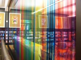 An art installation in the teen room at the newly renovated Central Library. The teen room is just part of the 50,000 square feet of space that the renovation opened for public use.