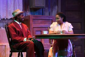 M Chanucy Thomas (Lymon) and Sharisa Whatley (Berniece) in The Black Rep's production of August Wilson's