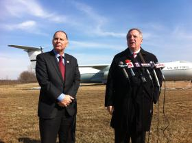 Democratic Congressman Bill Enyart (Left) and Senator Dick Durbin (Right) at Scott Air Force Base