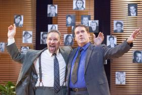 Production still from New Jewish Theatre's production of Speed The Plow.  L to R: Michael James Reed, Christopher Hickey.