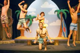 Production still from Stray Dog Theatre's production of Psycho Beach Party. (l to r) Paul Edwards as Yo Yo, Jake Ferree as Provoloney, Ben Watts as Chicklet Forrest, Paul S. Cooper as Kanaka, Zach Wachter as Star Cat.
